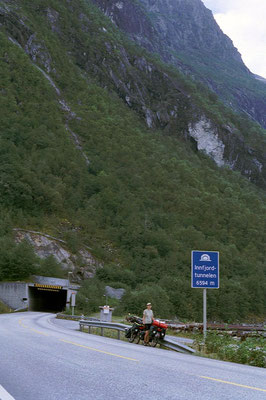 Cycling 6.6 km Innfjorden Tunnel - Western Norway