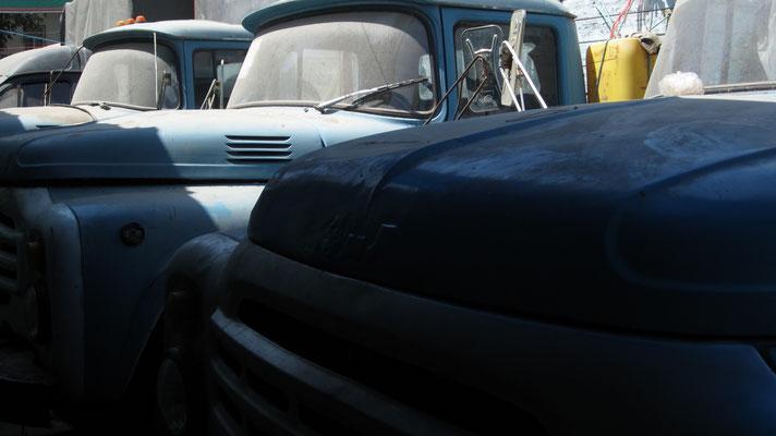 Trucks at Shah Mansur Bazaar - Dushanbe - Tajikistan