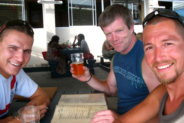 Andre, Leonard and me having a beer at Blouberg Beach