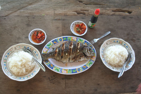 Fresh fish for dinner at Paga Beach - Southeastern Flores