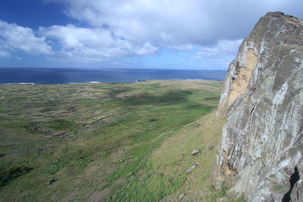 View from Rano Raraku - Easter Island East Coast