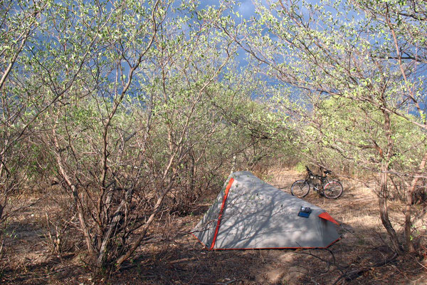 Camp in the bushes - Nata-Maun Highway