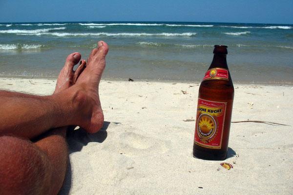 Kuche Kuche Beer at Chintheche Beach - Lake Malawi