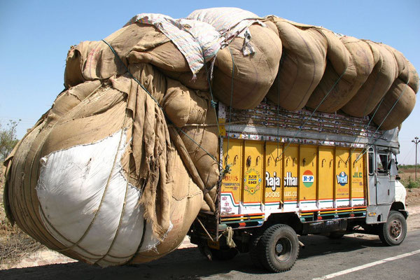 Heavily loaded truck - Rajasthan
