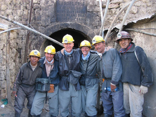 The guides and the four of us - Cerro Rico Mines - Potosi