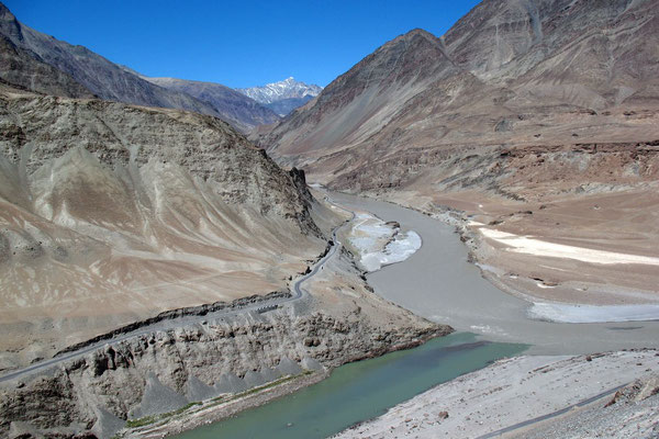 Junction of differently coloured Indus and Zanskar Rivers