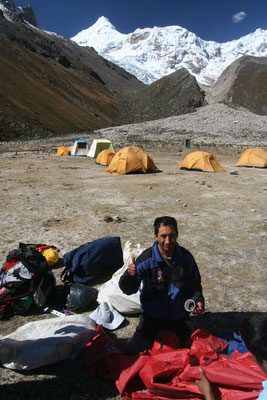 Jose at Tocclaraju Base Camp - 4,350 m - Cordillera Blanca