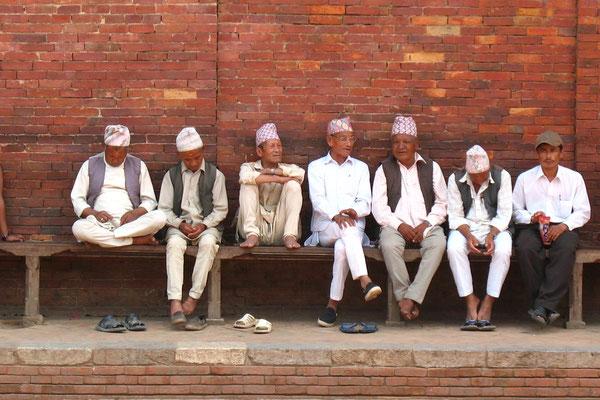 Nepali men at Durbar Square - Patan - Kathmandu Valley