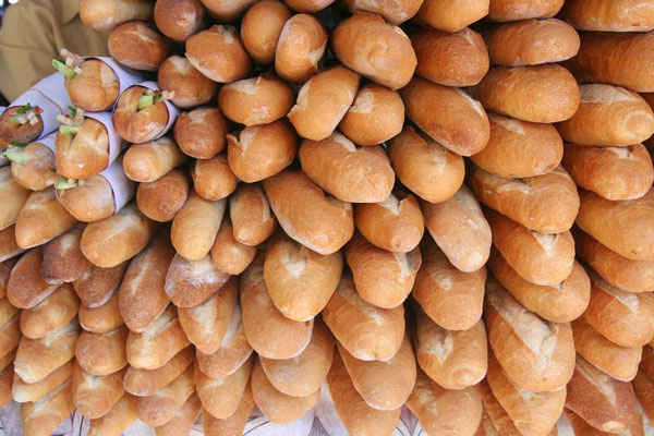 French baguettes at Talat Khua Din Market - Vientiane