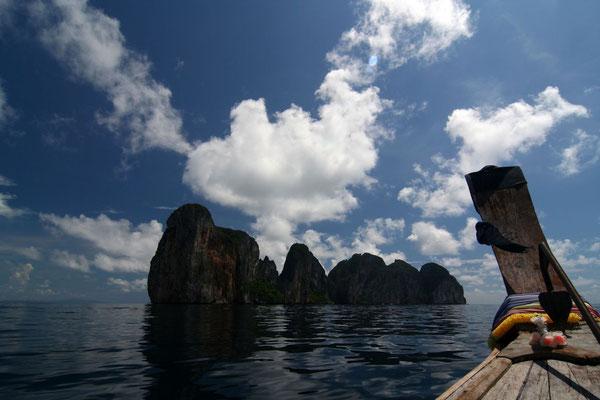 Approaching Maya Bay - Ko Phi Phi Leh Island - Southwestern Thailand