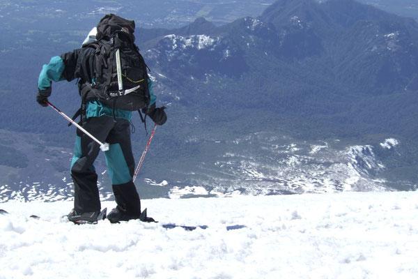 Skiing down Volcano Villarica