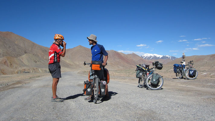 Victor and Fabian approaching Akbajtal Pass 4,655 m - Tajikistan