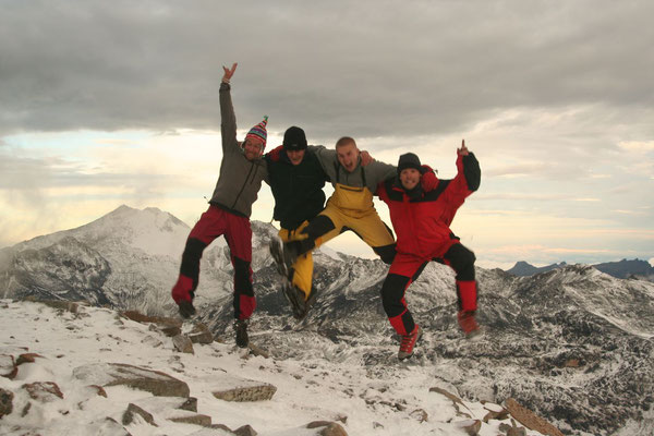 Me, Griffo, Bartek and Dan - Huayna Potosi High Camp 5,130 m - Cordillera Real