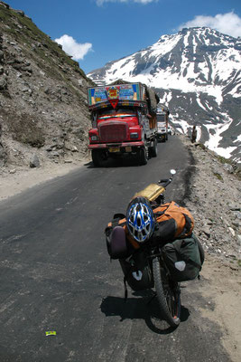 Oncoming Tata trucks - Manali-Leh-Highway - Himachal Pradesh