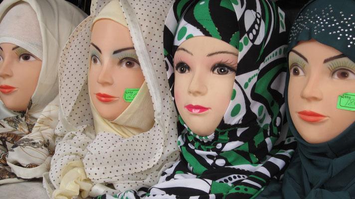 Headscarfs at Ak-Tilek Bazaar - Karakol - Kyrgyzstan