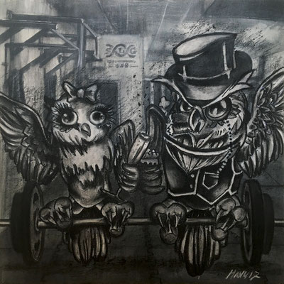 """Crossfit Gym Owls"", 60 cm x 60 cm, mixed media, 2017"