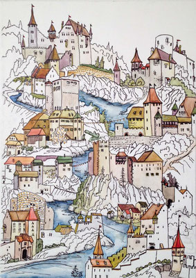 """Burgen Baselland"", 50 cm x 70 cm, Aquarell auf Leinwand, 2015 ___VERKAUFT"