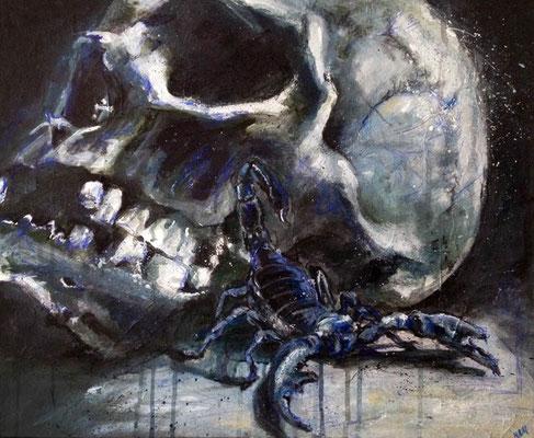 """Scorpion"", 45 cm x 55 cm, Acryl & Farbstifte, 2013"