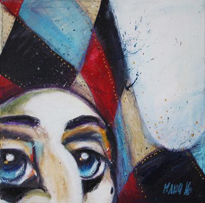 """Harlekin"", 15 cm x 15 cm, Acryl und Wachsstifte auf Leinwand, 2016 ___CHF 220.-"