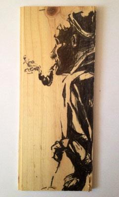 """Alpöhi"", 13 cm x 33 cm, Filzstift auf Holz, 2010   ___VERKAUFT"
