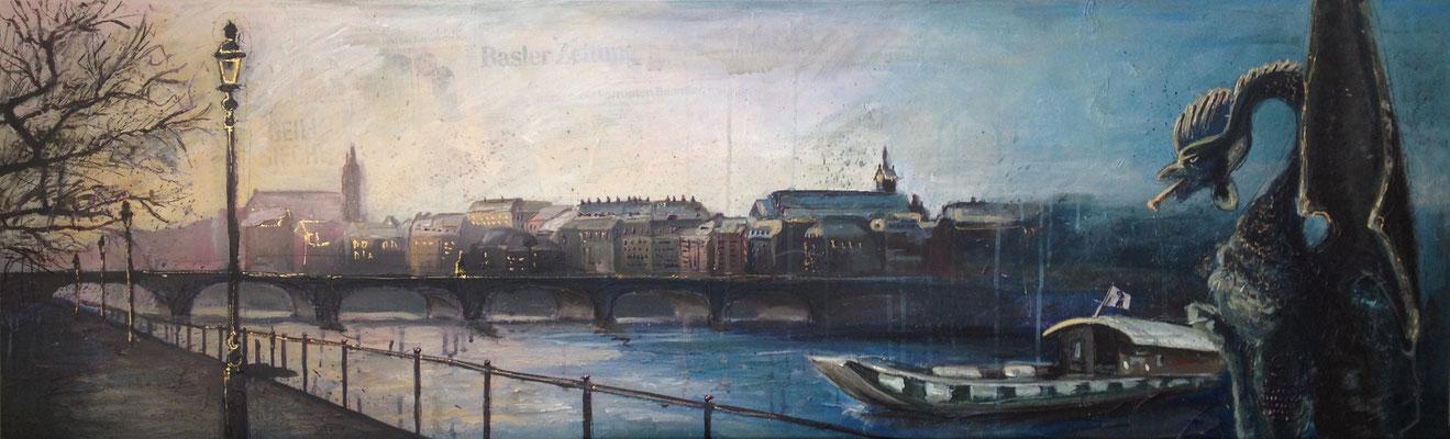 """Basel City"", 80 cm x 160 cm, mixed media, 2014"