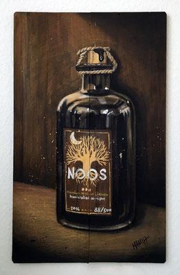"""""""NOOS"""", 33 cm x 53 cm, Acryl und Farbstifte auf Holz, 2017"""