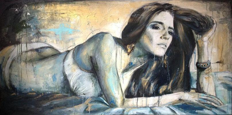 """Selfportrait"", 160 cm x 80 cm, mixed media, 2013"