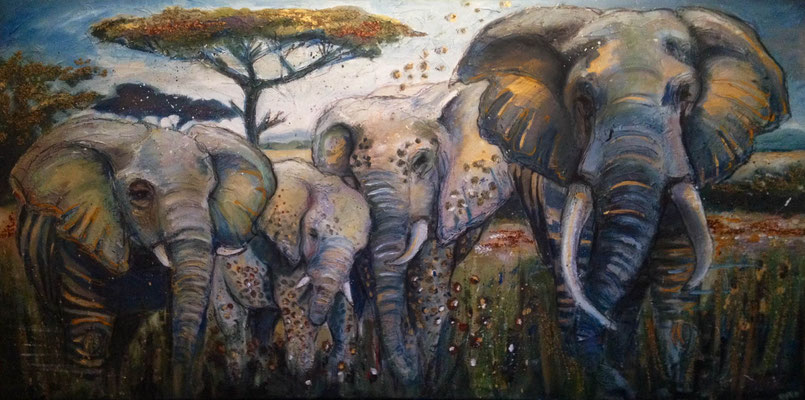 """Elephant Family II"", 160 cm x 80 cm, mixed media, 2014"