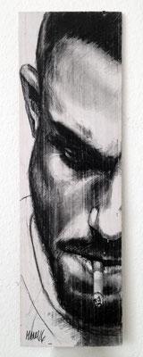 """Smoking Serie Thomas I"", 18 cm x 54 cm, Kohle auf Holz, 2016"