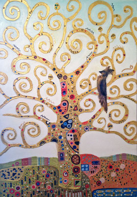 """Der Lebensbaum III"", 100 cm x 70 cm, Mixed Media auf Leinwand, 2014   ___CHF 750.-"