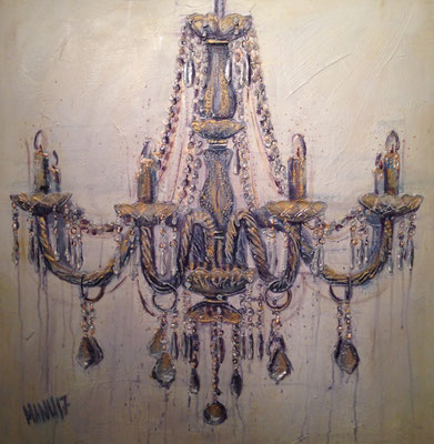 """Chandelier II"", 80 cm x 80 cm, Mixed Media auf Leinwand, 2017"