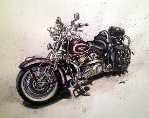 """""""Harley III"""", A3, Aquarell & Farbstifte, 2014"""