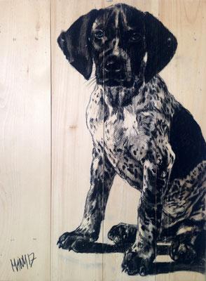 """Odin"", 38 cm x 52 cm, Kohle auf Holz, 2017"