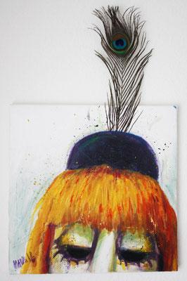 """""""Pierrot"""", 15 cm x 15 cm, Acryl und Wachsstifte auf Leinwand, 2016 ___VERKAUFT"""