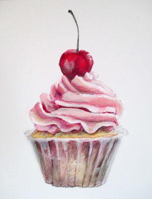 """Summer cupcake"", 30 cm x 30 cm, Acryl, Farbstifte auf Leinwand, 2015 ___VERKAUFT"