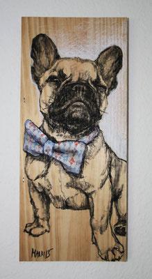 """JJ"", 16 cm x 31 cm, Kohle und Acryl auf Holz, 2015 ___VERKAUFT"