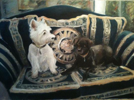 """""""Dina & Lisa"""", 50 cm x 80 cm, Gouache, 2012"""