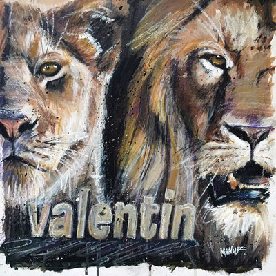 """""""Valentin"""", 40 cm x 40 cm, Acryl und Ölkeide auf Papier, 2017"""
