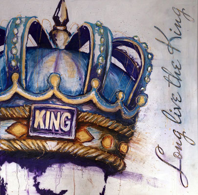 """Long Live The King"", 100 cm x 100 cm, Ölkreide auf Leinwand, 2016"