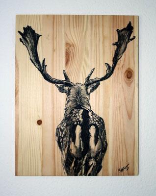"""Im Wald"", 25 cm x 33 cm, Kohle auf Holz, 2015 ___CHF 120.-"