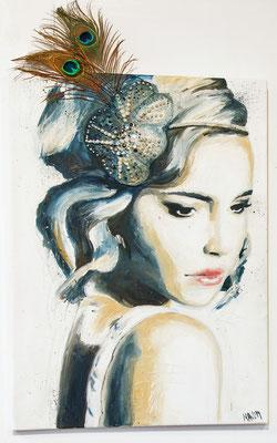 """Dame Bleu"", 50 cm x 70 cm, Mixed Media auf Leinwand, 2014   ___VERKAUFT"