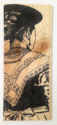 """Sennenfrau"", 13 cm x 33 cm, Filzstift auf Holz, 2016 ___VERKAUFT"