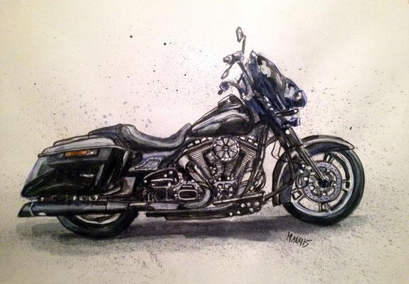 """Harley IV"", A3 Aquarell & Farbstifte, 2014"