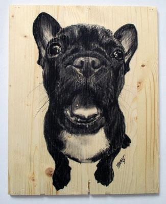 """""""Schreihals"""", 35 cm x 28 cm, Kohle auf Holz, 2015 ___VERKAUFT"""