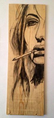 """She"", 17 cm x 50 cm, Kohle auf Holz, 2014   ___VERKAUFT"