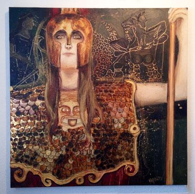 """Pallas Athene"", 100 cm x 100 cm, Mixed Media auf Leinwand, 2014   ___CHF 1`200.-"