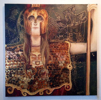 """Pallas Athene"", 100 cm x 100 cm, Mixed Media auf Leinwand, 2014   ___CHF 1`200.-"