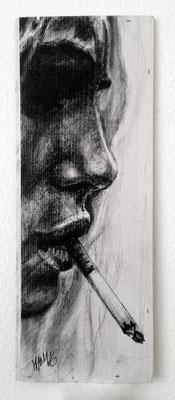 """Smoking Serie Thomas IV"", 19 cm x 50 cm, Kohle auf Holz, 2016"