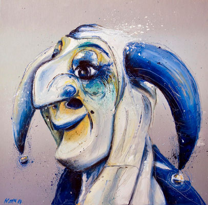 """""""Dr Larifari"""", 50 cm x 50 cm, Öl auf Aluminium, 2014   ___VERKAUFT"""