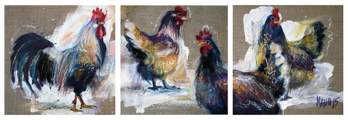 """Chickens"", 3 x 30 cm x 30 cm, mixed media, 2015"